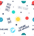 space seamless pattern hand drawing vector image vector image