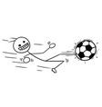 stickman cartoon of soccer football player in vector image