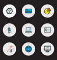trade icons colored line set with growing stats vector image