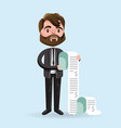 upset cartoon man with long bills vector image