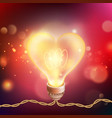 valentines day card with glowing lamp heart eps vector image