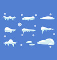 winter decorations set of isolated snow cap vector image