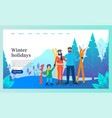winter holidays family skiing in vacation website vector image vector image
