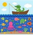 crocodile in boat catches fish vector image