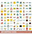 100 shipping icons set flat style vector image