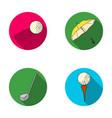 a flying ball a yellow umbrella a golf club a vector image vector image