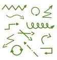 arrows hand drawn green arrow set collection vector image