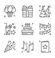 birthday celebration thin line icons set party vector image