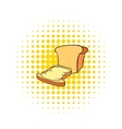 Bread and butter icon in comics style vector image