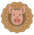 Butchery logo Pig head with wieners Color