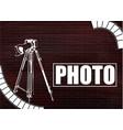 camera and photos on a brick wall vector image