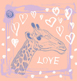 Card with cute giraffe and heart Sketch love Pink vector image vector image