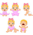cartoon little baby girl in different expressions vector image vector image