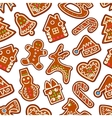 Christmas New Year gingerbread seamless pattern vector image vector image