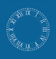 clock with roman numerals on blue backgroud vector image vector image