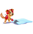 cute animated dog with yellow scarf digging vector image vector image