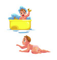 cute little baby kid infant child taking bath vector image vector image