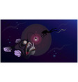 diver underwater hunter deep in sea meet monster vector image
