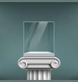 empty glass cube showcase on an antique column vector image vector image