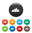 europe mountain icons set color vector image vector image