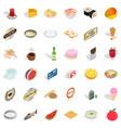 fresh fruit icons set isometric style vector image vector image