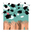 funny graduation background with hands vector image vector image