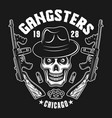 gangster skull with two machine guns on black vector image