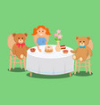 girl holds plate with pie bear toys with muffins vector image