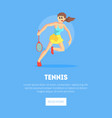 girl playing tennis weaing sports uniform banner vector image