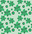 green flower with emerald seamless pattern vector image
