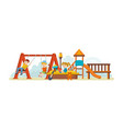 guys having fun ride on swing an amusement park vector image vector image