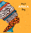 happy africa day card animal print woman
