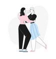 happy female lgbt couple or family dancing on vector image