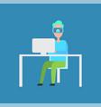 interactive reality man laptop vector image vector image