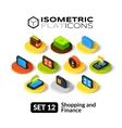 Isometric flat icons set 12 vector image vector image
