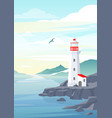 lighthouse on rock stones island landscape vector image vector image
