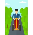Man riding on electric scooter vector image vector image