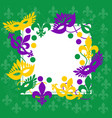 mardi gras elegant green frame place for text vector image vector image