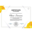 official white certificate with yellow triangle vector image vector image