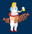 oktoberfest girl and sausage national beer vector image