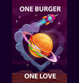 one burger one love funny cartoon motivation vector image vector image