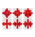red bows top view realistic gift bow with ribbon vector image
