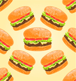 Seamless texture delicious big hamburgers vector image