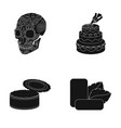 skull cake and other web icon in black style can vector image vector image