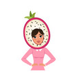 smiling woman character in dragon fruit headwear vector image