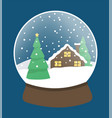 snow globe with pine tree and house landscape vector image vector image