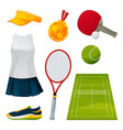 tennis and ping-pong equipment set playing tools vector image