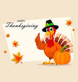 thanksgiving turkey standing near pumpkin vector image vector image
