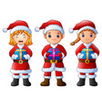 three cartoon children holding christmas gifts iso vector image