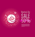 valentines day sale 50 percent vector image vector image